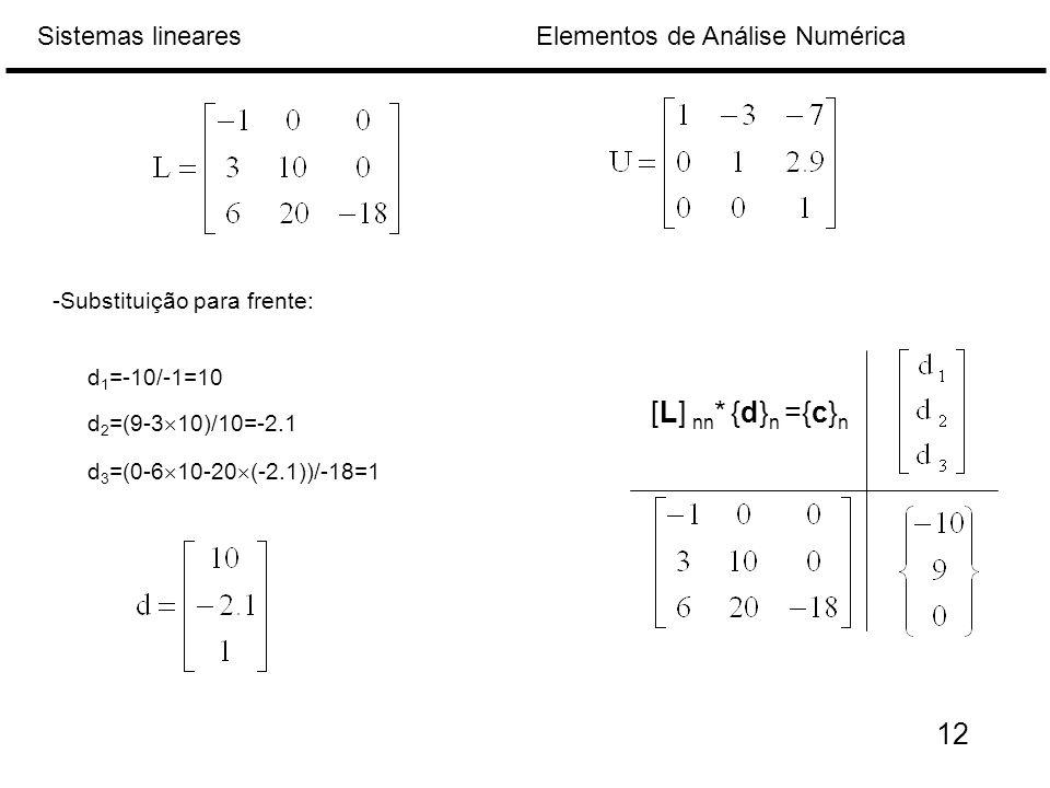 [L] nn* {d}n ={c}n 12 -Substituição para frente: d1=-10/-1=10